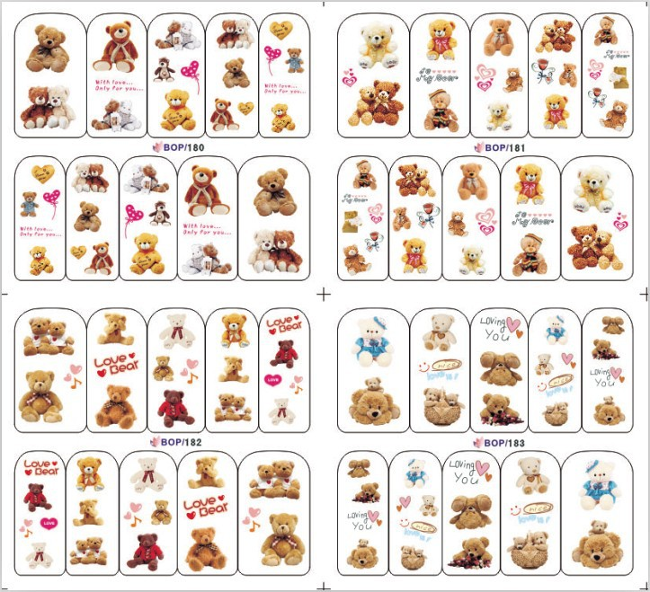 20pcs/lo lovely bear water transfer nail sticker nail tip water decals,BOP seires(100design ), more than 1000pcs for $0.115(China (Mainland))