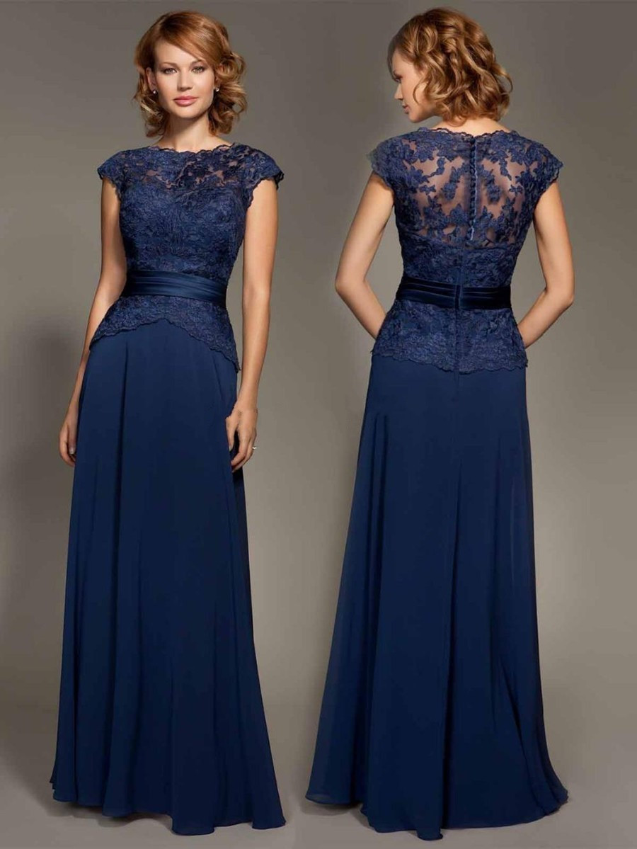 Elegant Navy Blue Long Evening Dress 2016 Simple Appliques