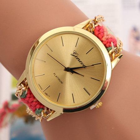2015 Models Selling Woven Belt Women Watch Fashion Leisure Ladies Watch With Marble Mirror