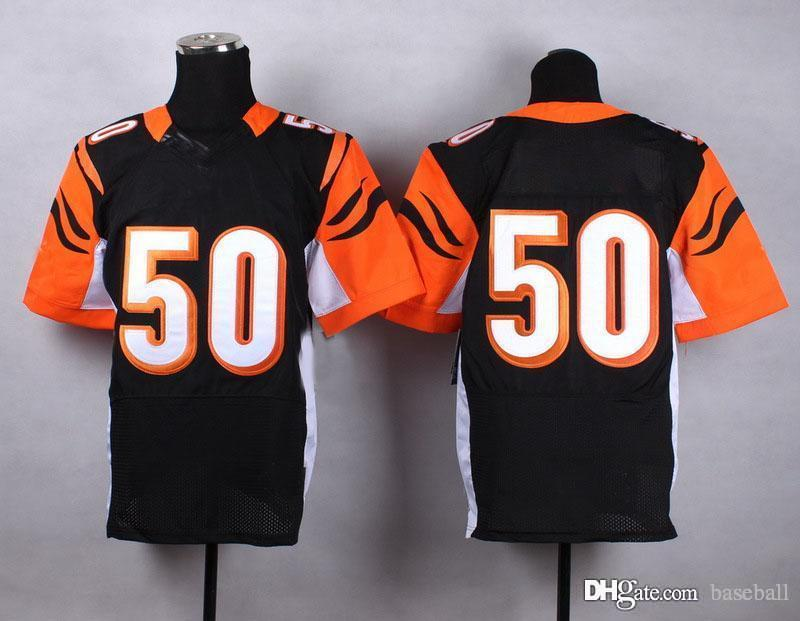 Cinci #50 Black Elite American Football Jersey Authentic Football Uniforms Cheap Sportswear Allow Mix Order(China (Mainland))