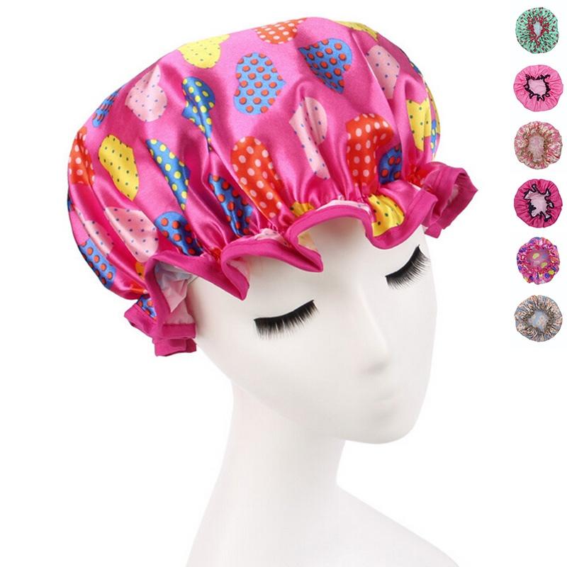 Women Waterproof Shower Cap Lovely Printing Elastic Shower Caps for Ladies Girl Hat Hair Bath Spa Salon Shower Caps(China (Mainland))