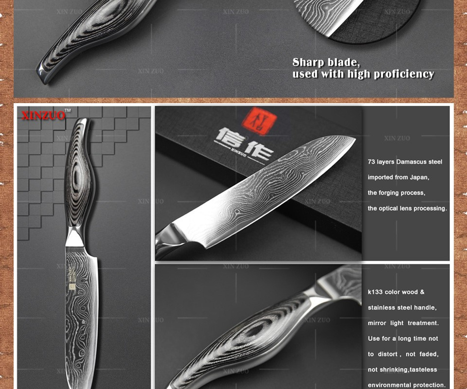 """Buy XINZUO 5"""" chef knife Japanese VG10 Damascus steel kitchen knife santoku knife color wood and stainless handle FREE SHIIPPING cheap"""