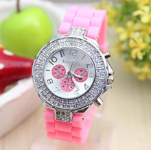 14 colors Fashion Silicone GENEVA Watch Crystal Silicone Jelly watch Women Rhinestone Watch 1piece lot BW