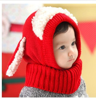 2015 new warm winter crochet baby hat for girls boys cute animal dog shaped siamese wool hat lovely ear cashmere shawl hat baby(China (Mainland))
