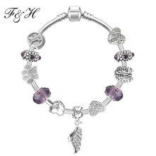 Silver Charm Bangle with Wing Pendants fit Pandora Charm Bracelet Purple Glass Friendship Bracelet(China (Mainland))