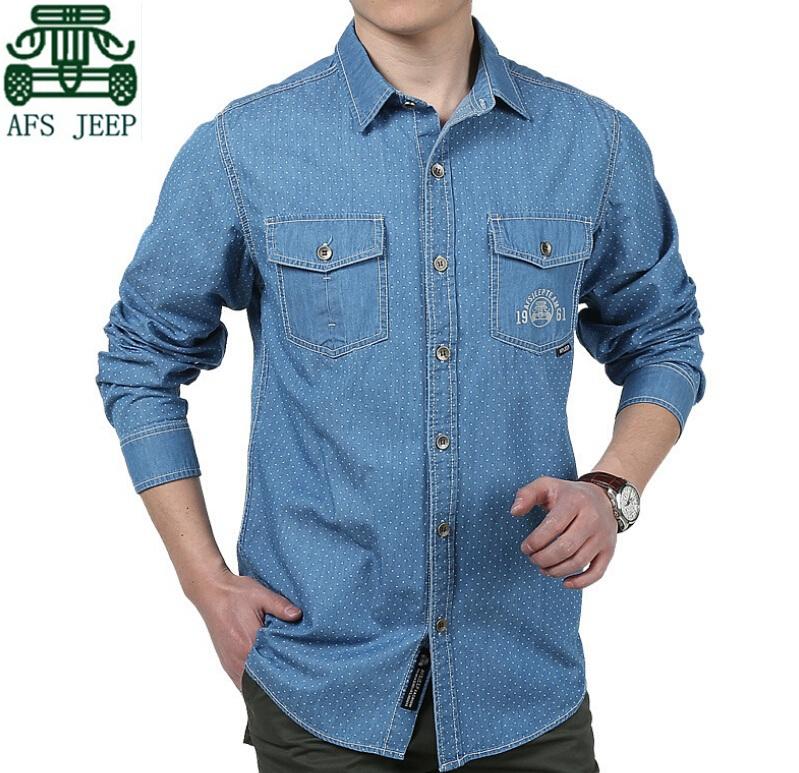 AFS JEEP 2015 New Arrival Men's Denim Full Sleeve Shirts,New Fashion Men's Polka Dot Cotton Shirts,Good Quality Men Cardigan(China (Mainland))