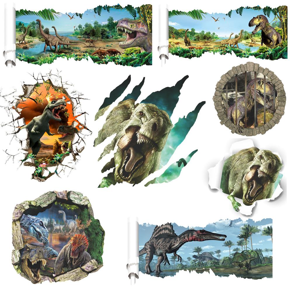 Jurassic dinosaur wall decal including Tyrannosaurus spinosaurus and 9 designs 3d dinosaurs/plane wall stickers animals kid(China (Mainland))