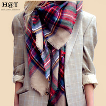 GS58 New Celeb Style Womens Color Mixed Plaid Tartan Pattern Oversized Soft Blanket Scarf & Wrap Winter Woolen Scarf