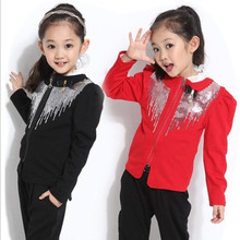 Girls clothing spring and autumn children set child puff sleeve paillette blazer Handsome girls' suits(China (Mainland))