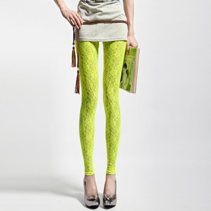 Sexy Disco Lace Pants Women Candy Color Leggings Girl Neon Yellow Orange Rose White Legging Fitness Pencil Leggins 2015 Trousers(China (Mainland))