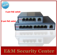 With 4-port PoE switch 4+1 Port desktop Fast Ethernet Switch Dahua Hikvision network cameras powered POE31004P(China (Mainland))