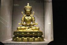 Tibet Buddhism Fane 100% Pure Bronze 24K Gold Amitayus Buddha Kwan-yin Statue Garden Decoration 100% real Brass Bronze