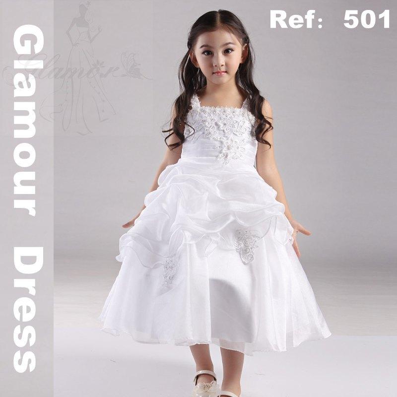 Plus size white flower girl dresses
