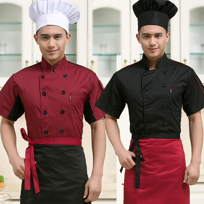 Chef clothing summer dresses with short sleeves chef restaurant cooks the overalls double-breasted chef clothing clothes men(China (Mainland))