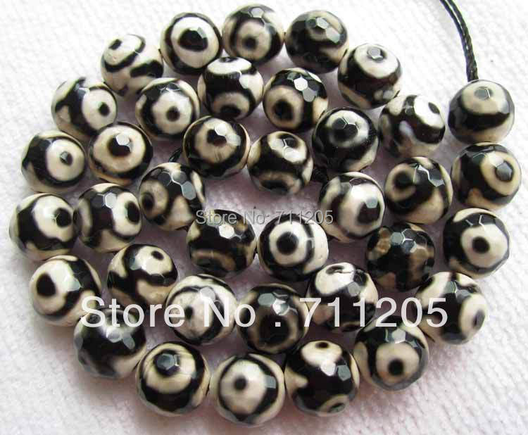wholesale 39pcs Faceted 10mm font b chequered b font with black and white Fire Agate Round