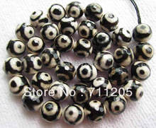 wholesale 39pcs Faceted 10mm chequered with black and white Fire Agate Round loose beads Min.Order is $10