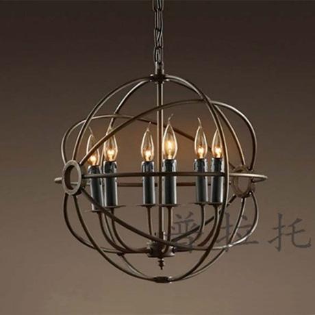 Rh loft foucault six lights american vintage copper pendant light(China (Mainland))