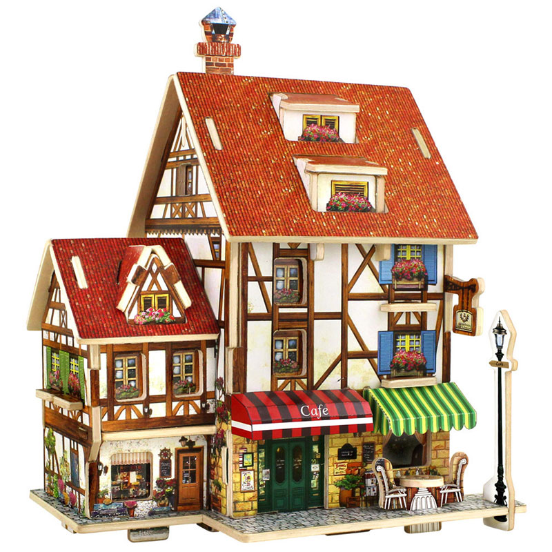 DIY Educational 3D Wood Houses Puzzle Kids Wooden Toy House Coffee Lodge House Home Puzzle Model House(China (Mainland))