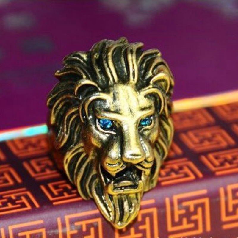 Free shipping 50pcs top quality gold plated exaggerated The lion  alloy rings men antique fashion hot gift<br><br>Aliexpress