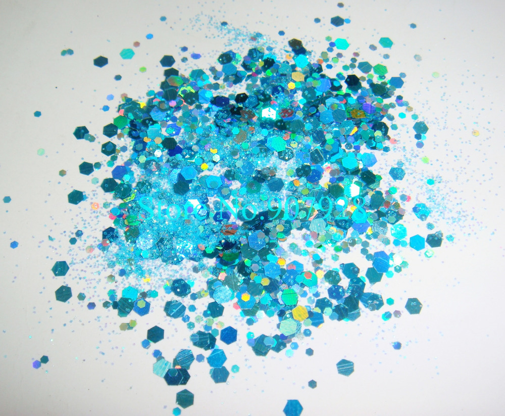 50gram/bag x Mixed Laser Light Blue Colors(Glitter Powder+Hexagon)Shape for Nail Art Decoration-Free Shipping(China (Mainland))