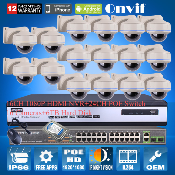 16CH NVR Kit Security CCTV System Onvif H.264 1080P 2MP HD Outdoor Vandal-proof IR IP Network POE Camera 24CH POE Switch+6TB HDD(China (Mainland))