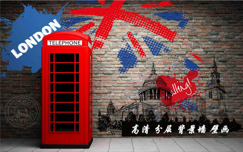 Custom 3D murals,Retro 3D stereo red phone booth papel de parede,hotel restaurant bar living room sofa TV wall bedroom wallpaper(China (Mainland))