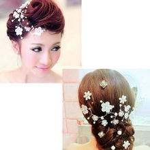 White Pearl Flower Hair Comb