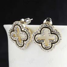 2015 Coral Pendientes New Arrival Trendy Earings Clover Jewelry Brinco Earrings,18k Earrings Quadrangular Stud For Women Ol (China (Mainland))