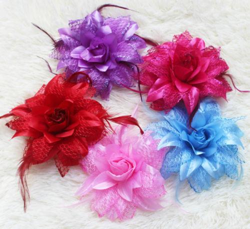 Multicolor optional Wedding Satin Hair Flower feather Clip Decoration Grip Corsage BG(China (Mainland))