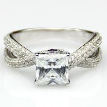 Роскошь обручальное кольцо центр 2ct принцесса синтетических алмазов обручальное кольцо группа 925 белый позолоченный кольцо