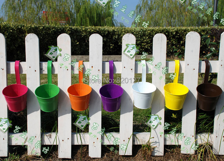 5pcs 9*10cm High Quality Small Size Mixed Multi Color Hanging Metal Flower Growing Planting Pot Tube(China (Mainland))