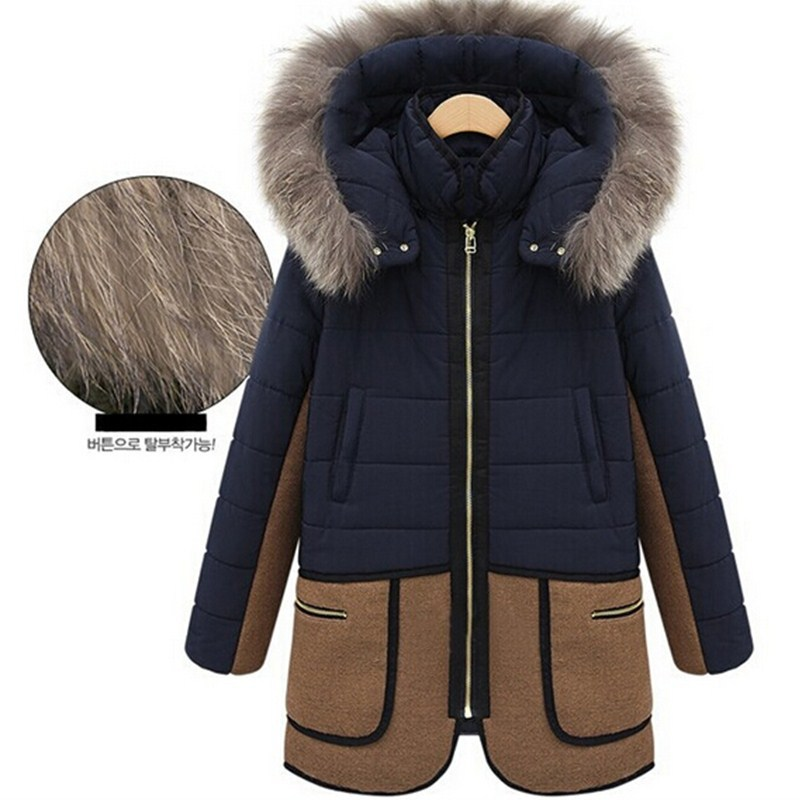 2015 Desigual Women winter Jackets Casual Fur Hooded Parka Coat Parkas Overcoat Cotton Solid Women Thick Long CoatZL0551Одежда и ак�е��уары<br><br><br>Aliexpress