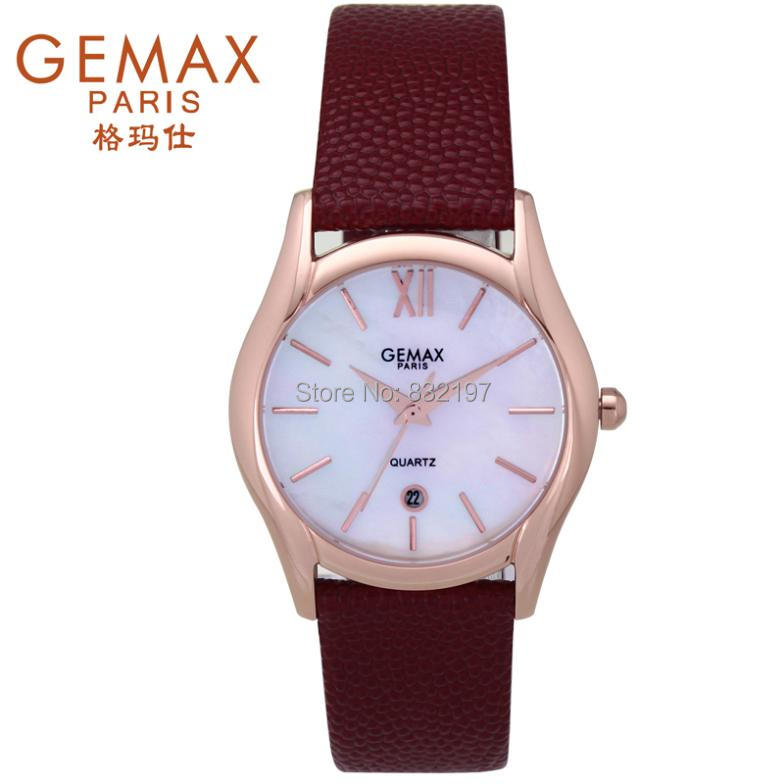 Free shipping Gemax pearl shell calf skin strap elegant lady paragraph waterproof fashion vintage table women watch(China (Mainland))