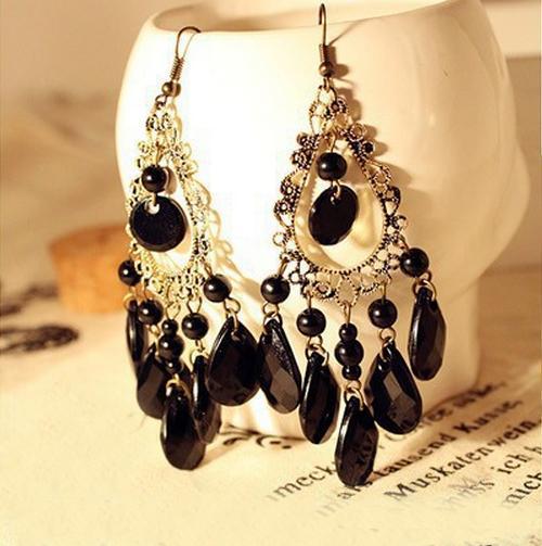 Nice Fashion Jewelry Boho Earrings Peacock Feather Shape Biag Stone Long Earrings AE187(China (Mainland))