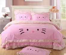 Hello kitty bedding / comforter set Cartoon Kawaii bedding bed sets cotton bed sheets/duvet cover, 3-4pcs twin/king/queen size(China (Mainland))