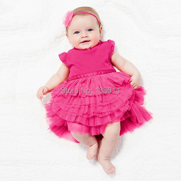 Девочки-младенцы роза торт платье принцесса пачка платье смесовой хлопок верхний одежда 0-3Y