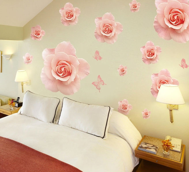 Big Beautiful Rose Wall Stickers Decals Pink Flower Adhesive Vinyl Wallpaper Mural Girls Women