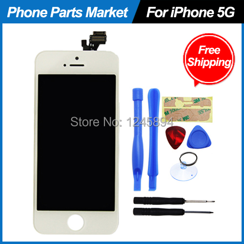 Original for iPhone 5 5G LCD Display Digitizer Replacement+Touch Screen Glass+Frame Assembly Complete Kit White Free Shipping(China (Mainland))
