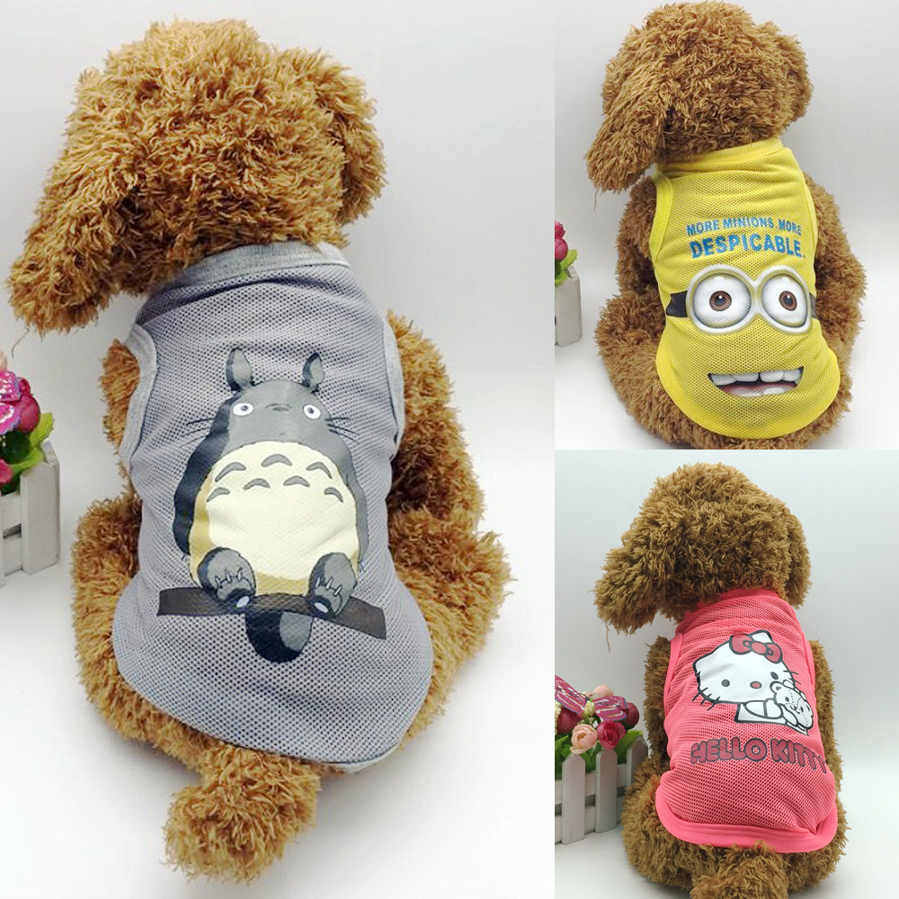 Summer Cute Gray Totoro Dog Vest Cute Mesh Pet T-Shirt Lovely Yellow Pink Cat Pet Clothes Puppy Shirt Roupa Para Garment PY921(China (Mainland))