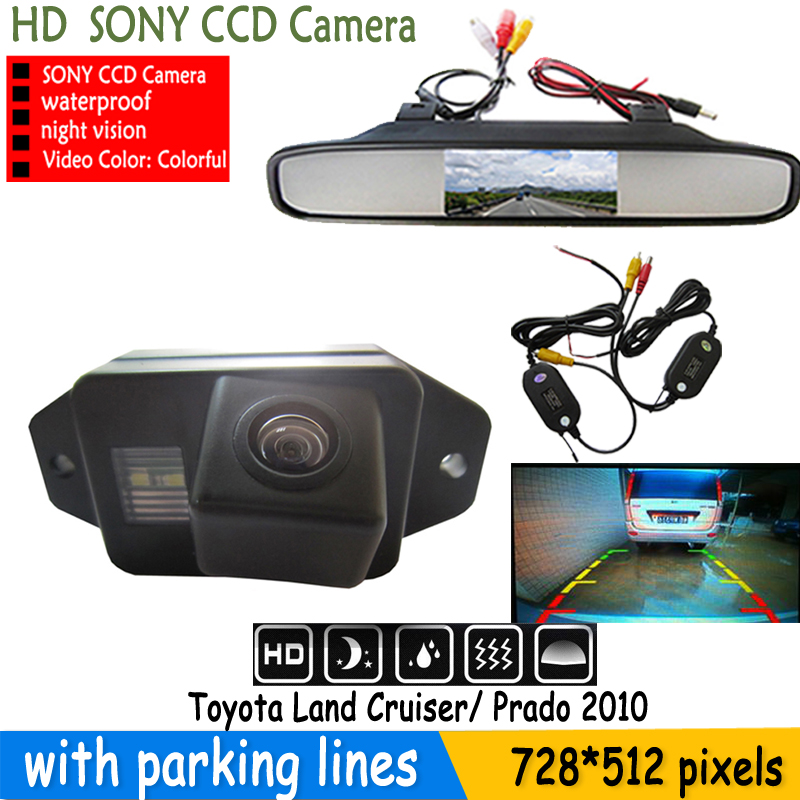 """Auto Parking Assistance System LCD Mirror Car4.3"""" Monitor+rear view Parking Car Camera for TOYOTA LAND CRUISER PRADO 2700 4000(China (Mainland))"""