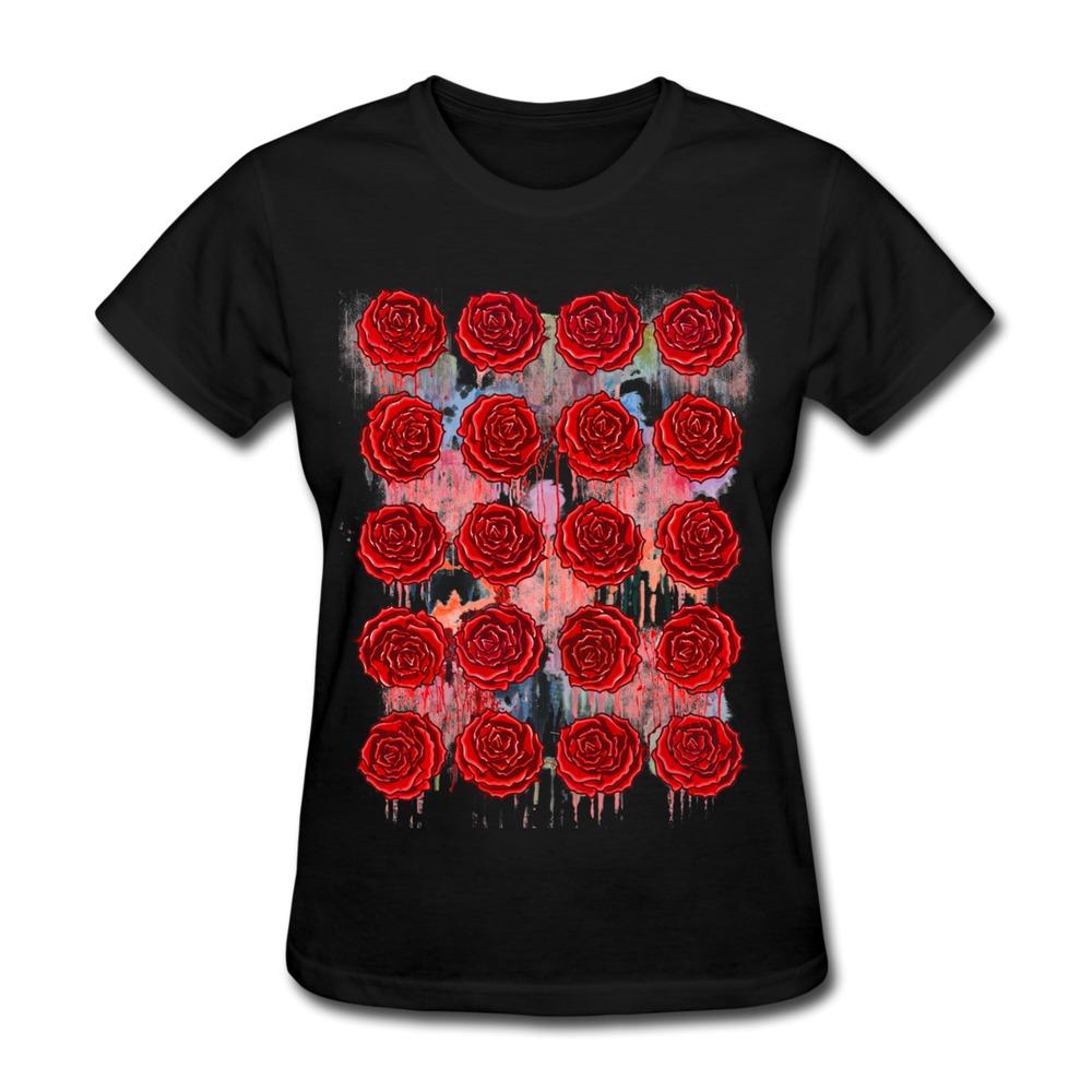 Custom short sleeve womans t shirt bleeding roses funny for Custom t shirts for women