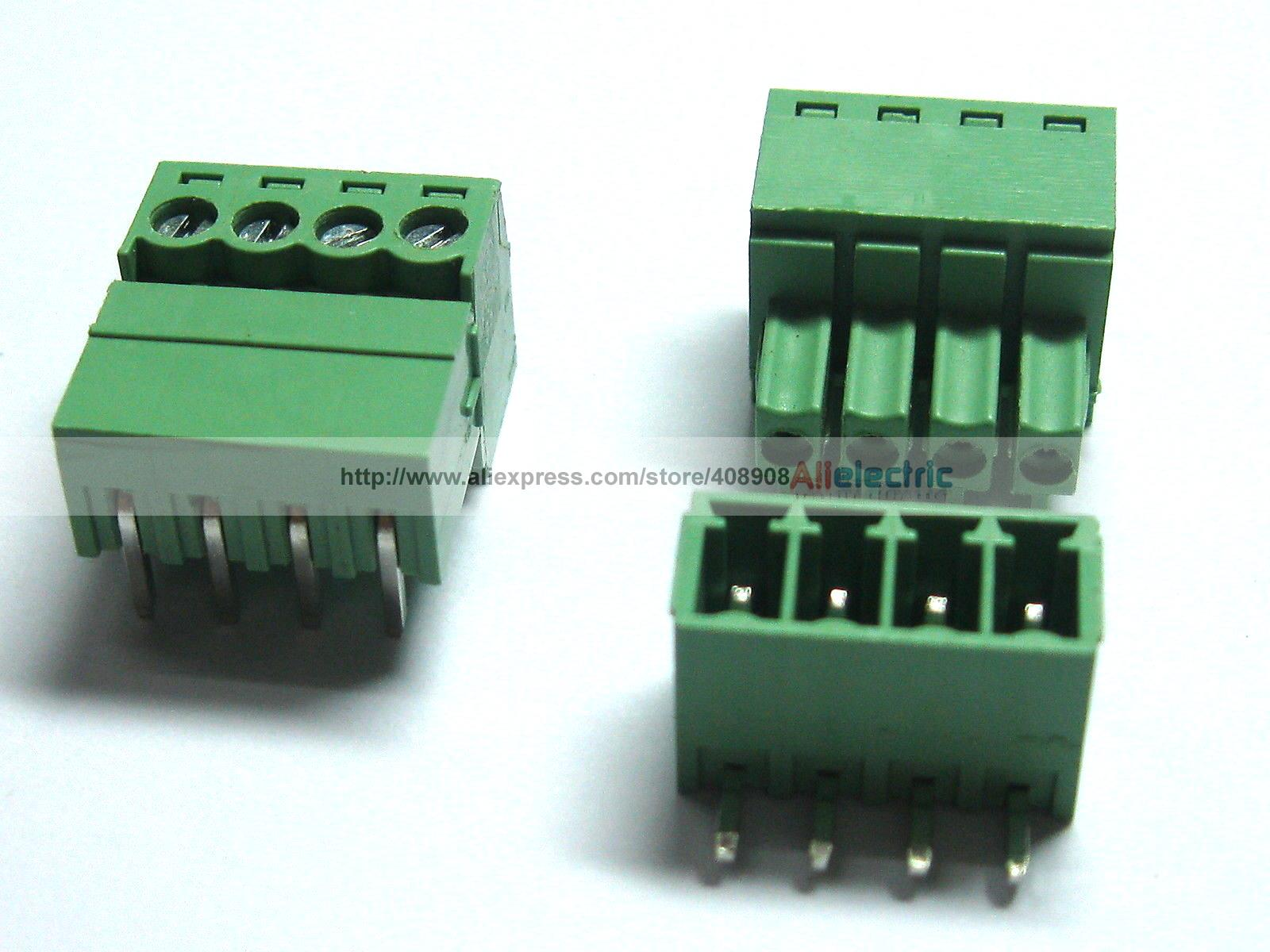 150 Pcs Screw Terminal Block Connector 3.81mm Angle 4 Pin Green Pluggable Type <br><br>Aliexpress