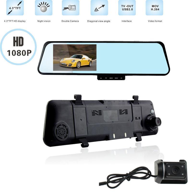 6000C HD1080P H170 Dual Lens Camera Rearview Mirror Viedo Recorder Car DVR Blackbox G-Senser(China (Mainland))