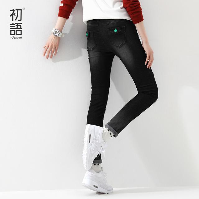 Toyouth 2016 Модныйal черные тонкие джинсы простые джинсы устойчивыми черные джинсы ...