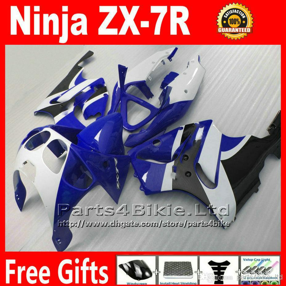 Plastic motorcycle parts for 1996 - 2003 Kawasaki Ninja fairing kit ZX 7R white black blue ABS fairings set ZX-7R ZX7R 96-02 03(China (Mainland))
