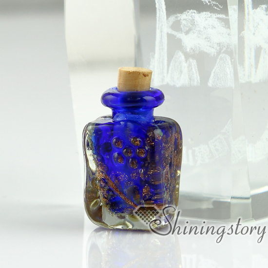 Small glass bottles pendant necklaces small decorative for Small colored glass jars