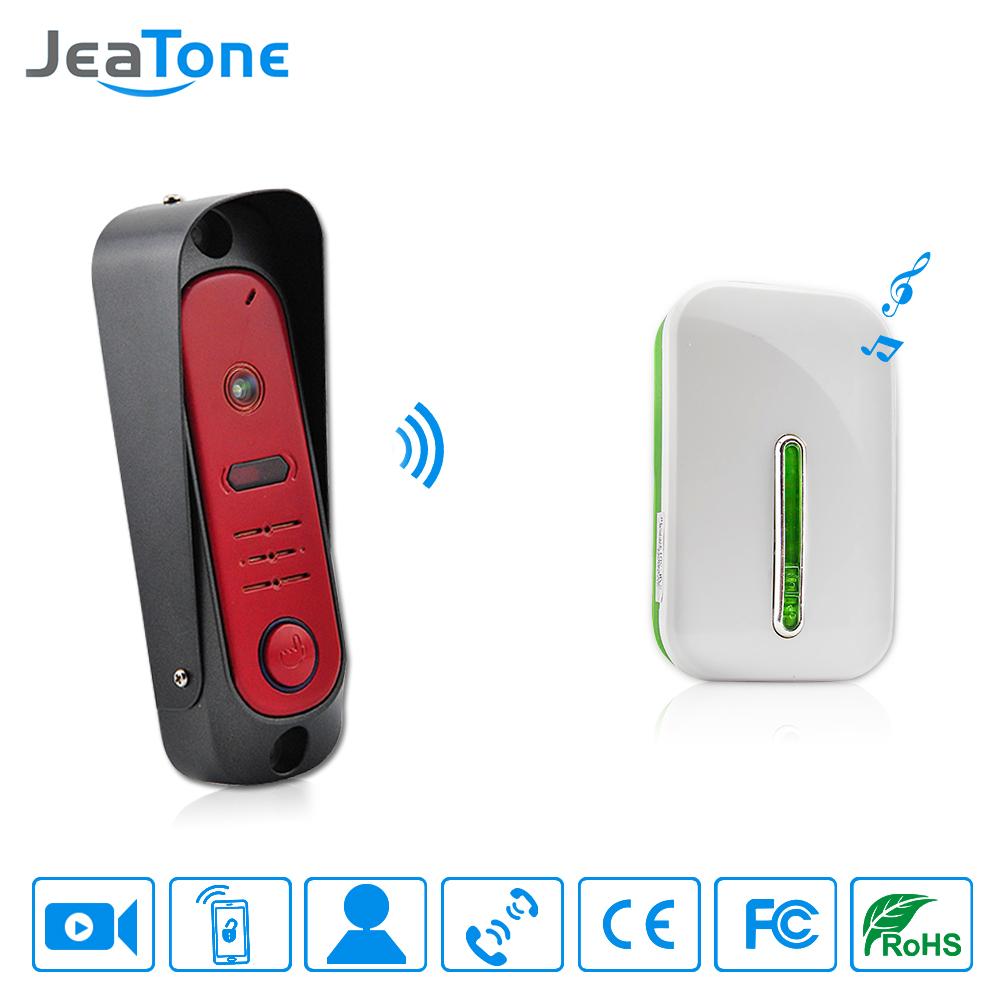 JeaTone Red HD 720P 1.3MP Camera Wifi IP Doorbell Security Wireless Video Door Phone Intercom and Door Set Access Control(China (Mainland))