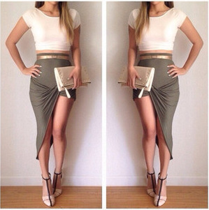 2 piece set women 2015 New Fashion Summer Sexy White crop top and irregular sexy brown skirt suit plus size free shipping(China (Mainland))