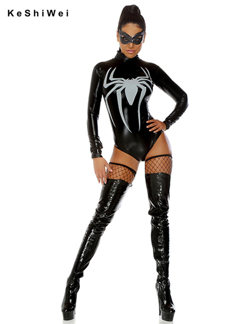 Shiny Metallic Faux Leather Adult Spider Costume Spider-man In Party Costumes Cosplay Sexy Spider-man Halloween(China (Mainland))