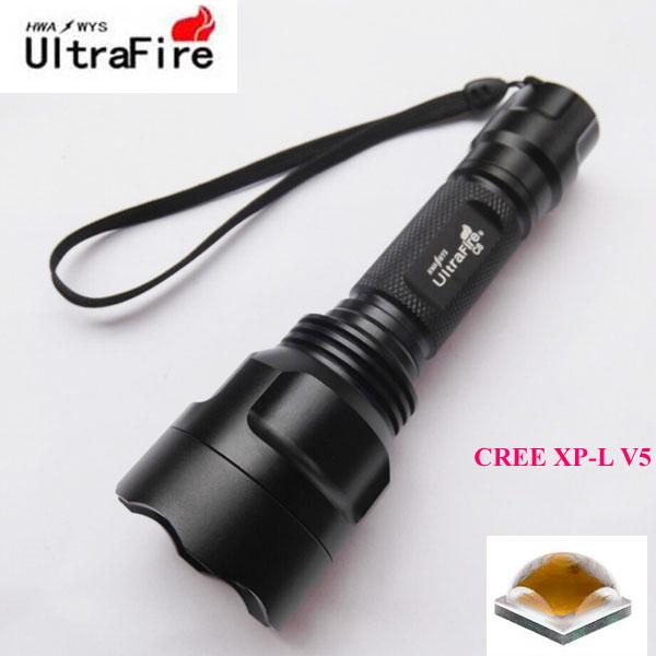 U-F C8 CREE XP-L V5 2000lm Cool White Light 3-Mode High&gt;Middle&gt;Low OP LED Flashlight (1 x 18650)<br><br>Aliexpress